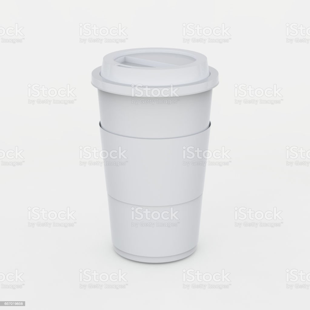 White coffee cup mock up on white background with soft shadows and highlights stock photo