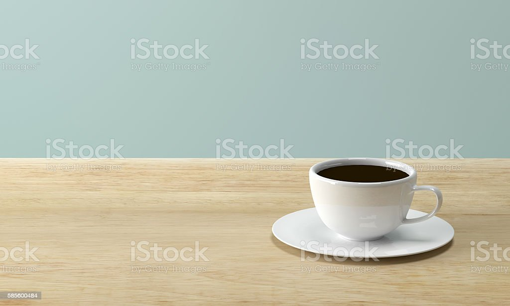 White coffee cup on wood table stock photo