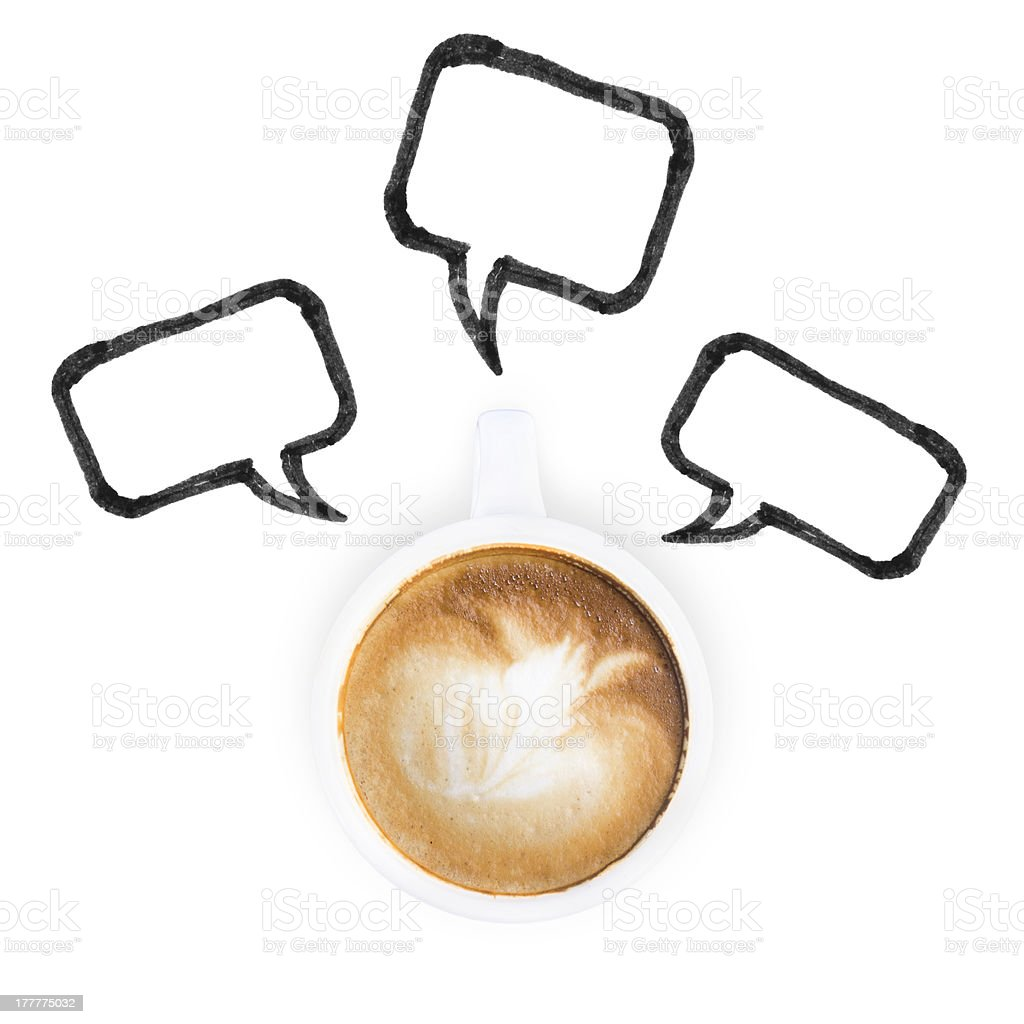 White coffee latte cup and chat icon stock photo