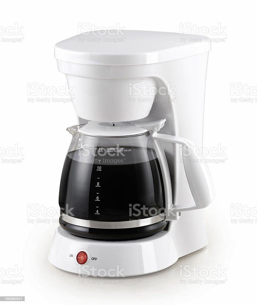 White coffee percolator with full pot of coffee on white stock photo