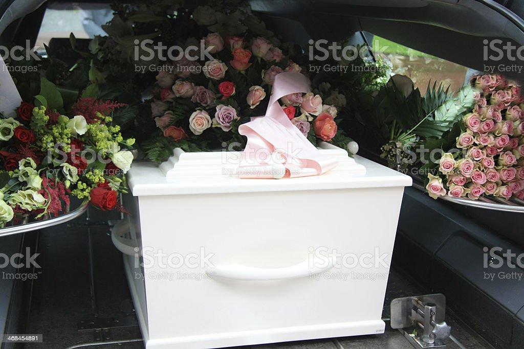 White coffin in a grey hearse stock photo