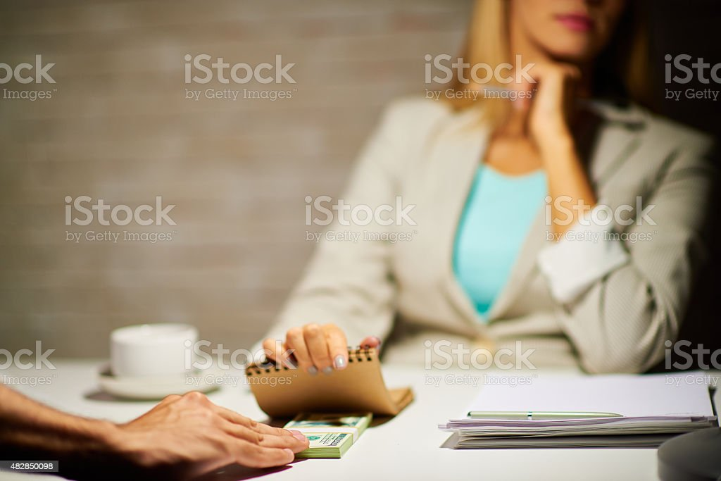 White collar crime stock photo