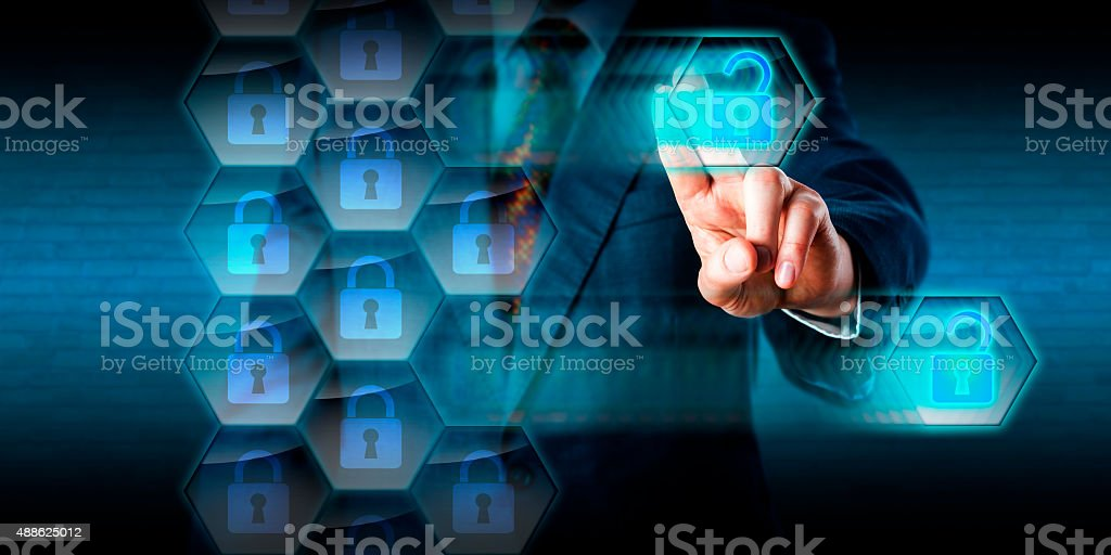 White Collar Criminal Hacking Holes Into Firewall stock photo