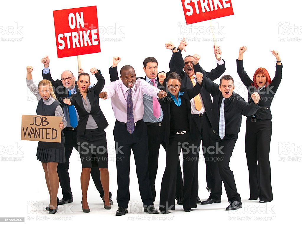 White collars workers on strike royalty-free stock photo