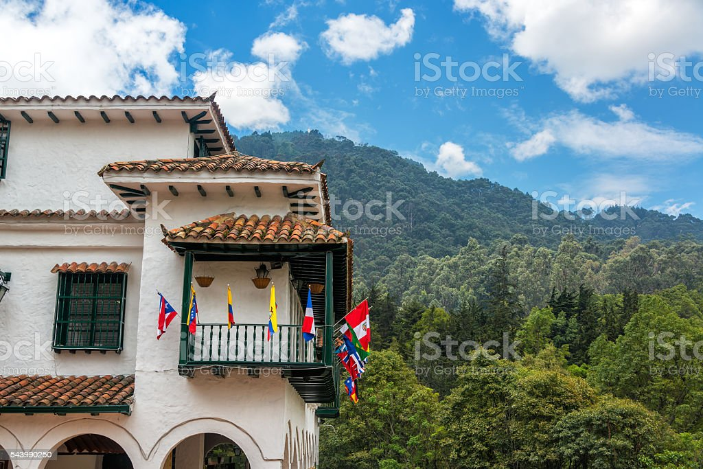White Colonial Style Building in Bogota stock photo