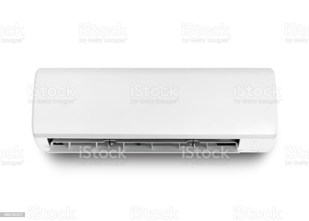 White color air conditioner isolated on white with clipping path stock photo