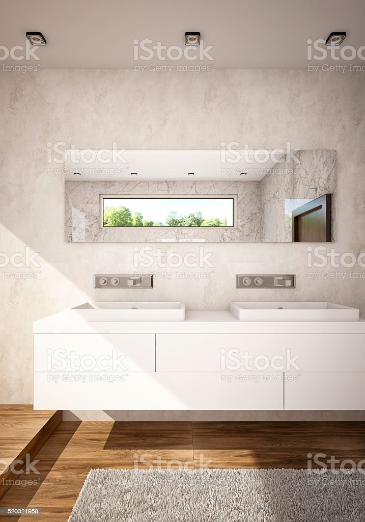 White Color Bathroom with Double Sinks Camera 2 stock photo