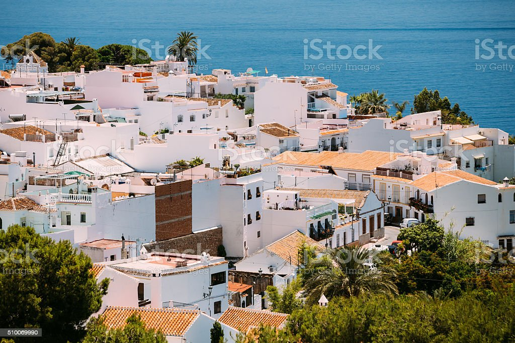 White color houses in Nerja, Malaga Province, Andalusia, Spain stock photo