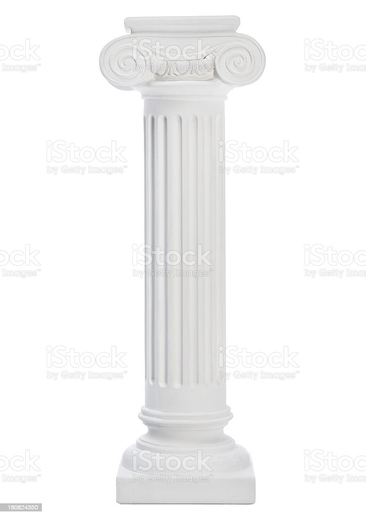 A white column on a white background stock photo