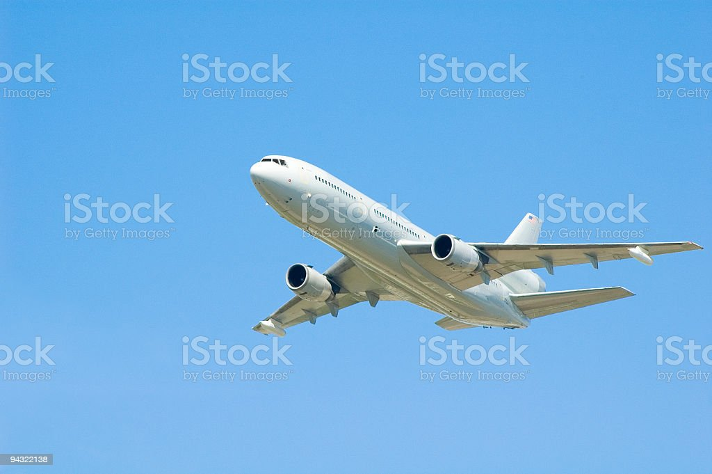 White commercial aircraft royalty-free stock photo