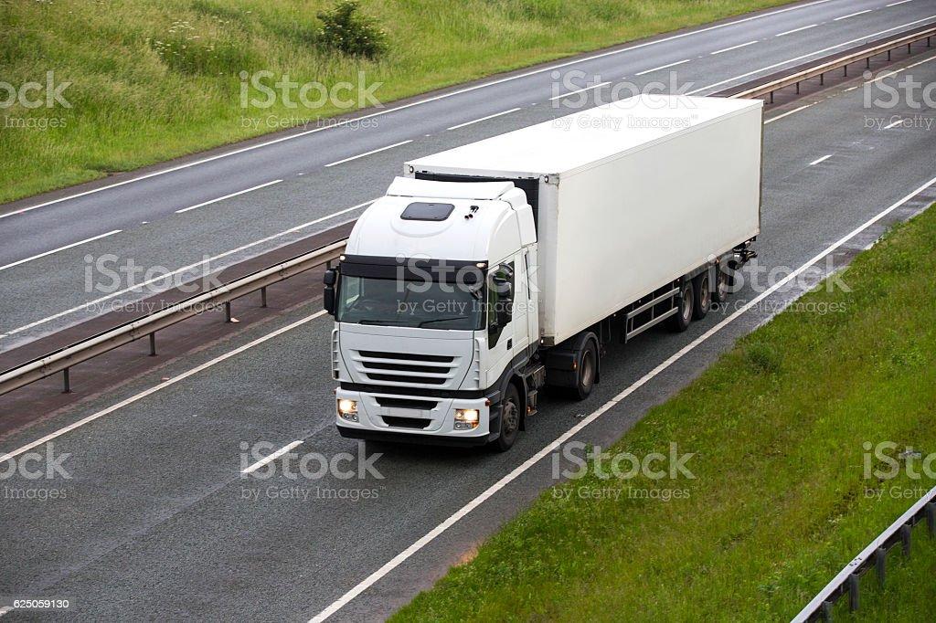 White Commercial Land Vehicle stock photo