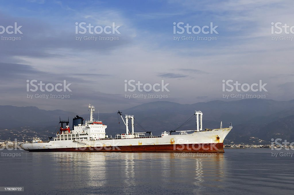 White commercial ship royalty-free stock photo