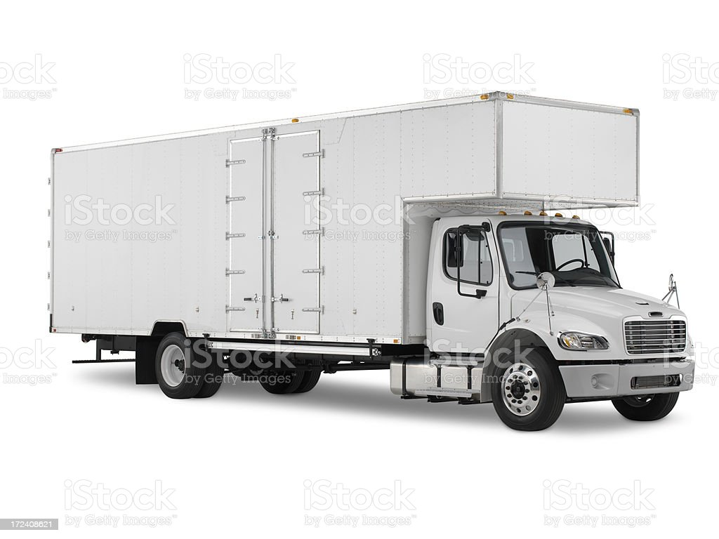 White commercial truck on a white background stock photo