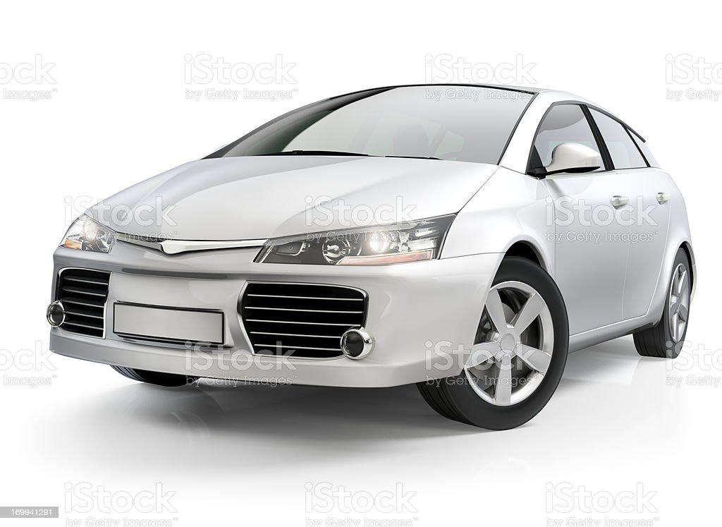 White compact car stock photo