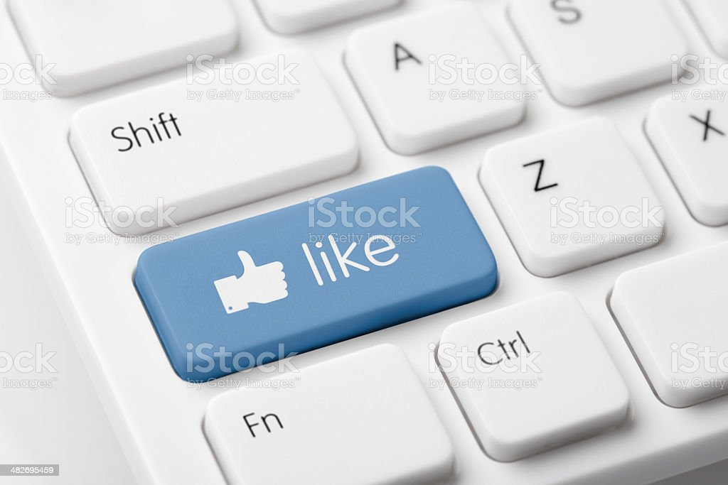 White computer keyboard with 'Like' button royalty-free stock photo