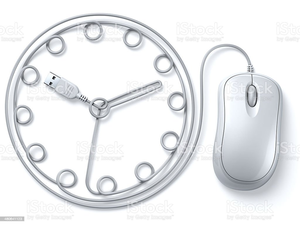 White computer mouse cable clock royalty-free stock photo