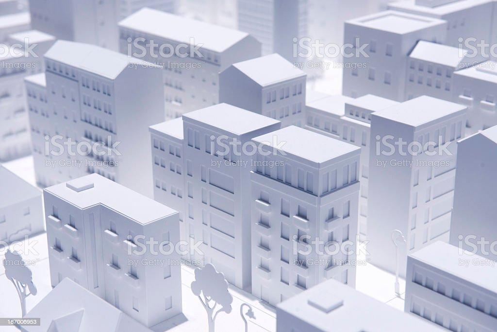 A white concept model city plan stock photo