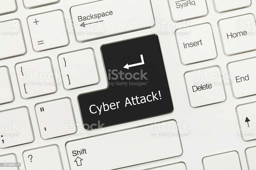 White conceptual keyboard - Cyber Attack (black key) stock photo
