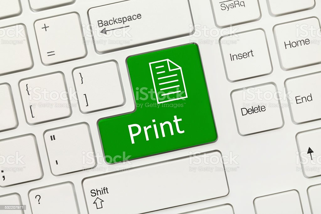 White conceptual keyboard - Print (green key) stock photo