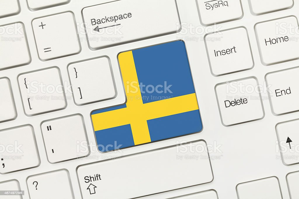 White conceptual keyboard - Sweden (key with flag) stock photo