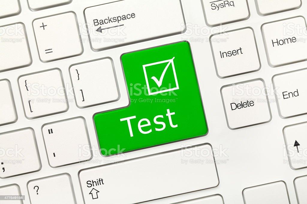 White conceptual keyboard - Test (green key) stock photo