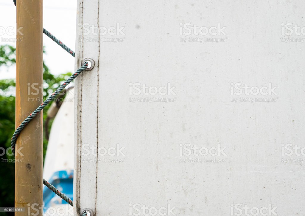 White construction safety canvas protection with copy space. stock photo