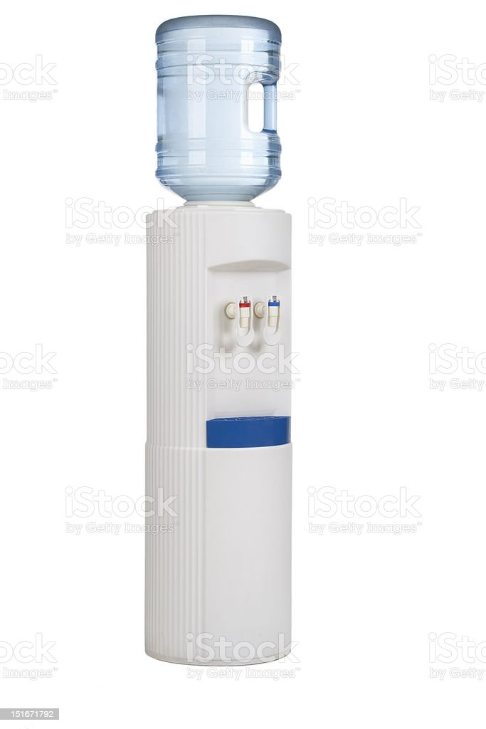 White cooler with water bottle on  white. stock photo