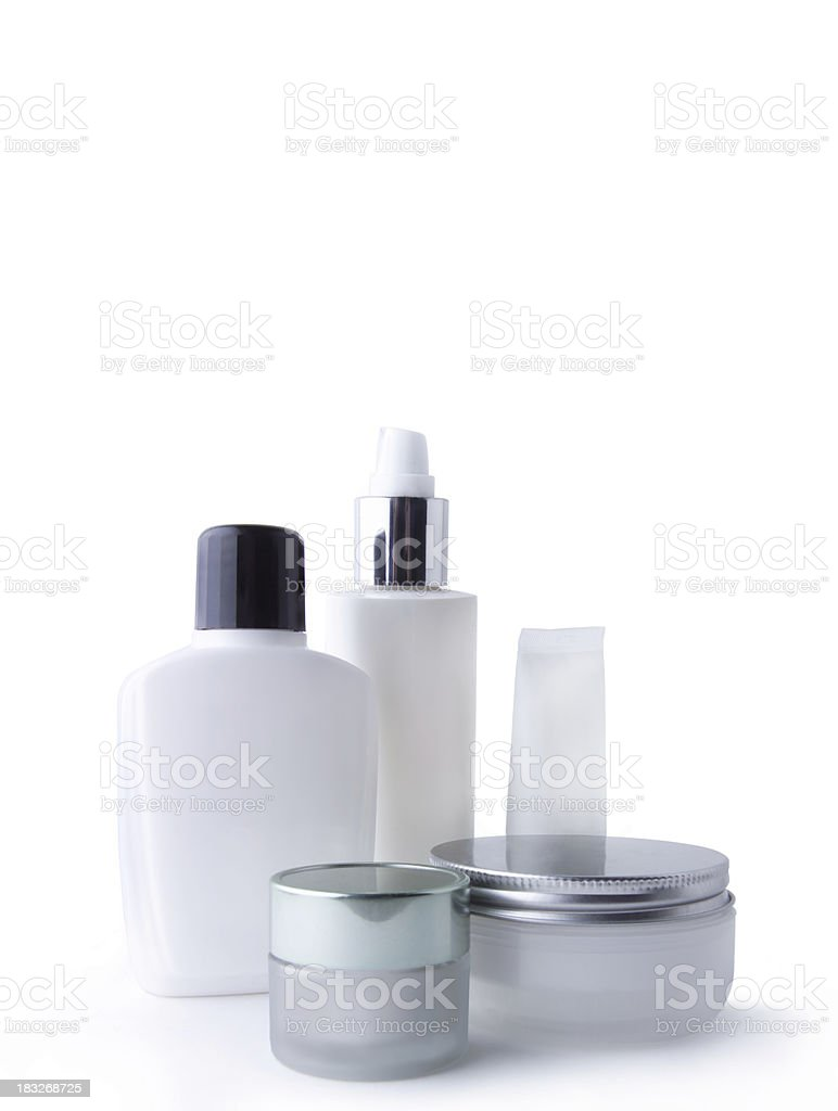 white cosmetic containers royalty-free stock photo