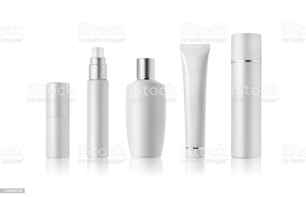 White Cosmetic containers stock photo