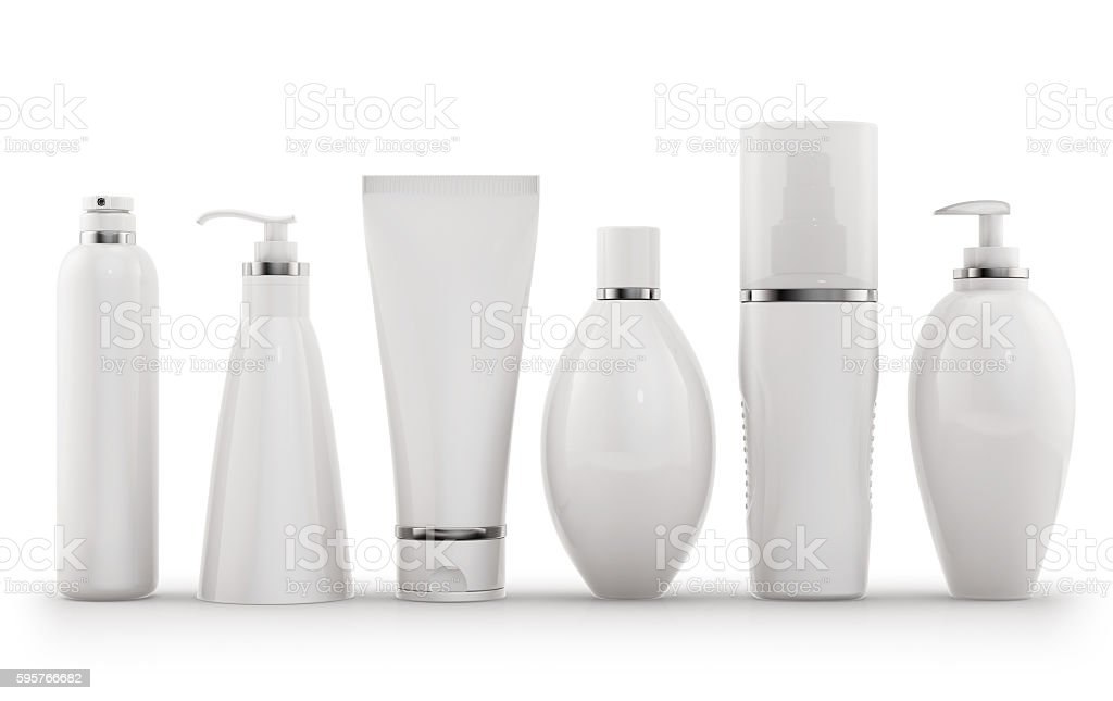 White cosmetic tube and package on white stock photo