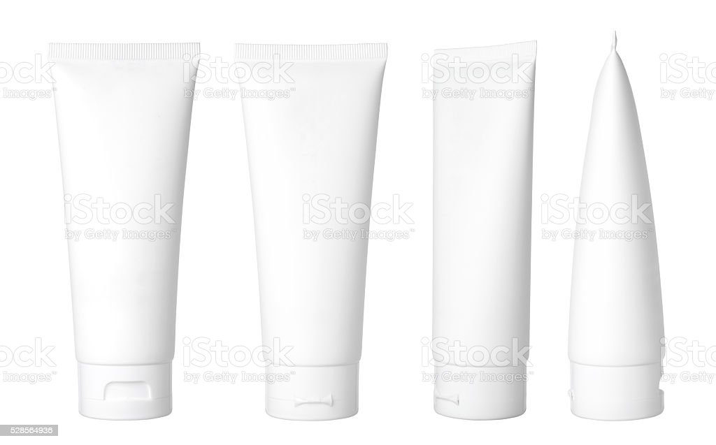 white cosmetic tube stock photo