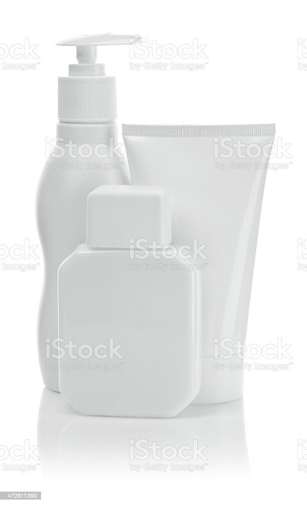 white cosmetical bottles and tube stock photo