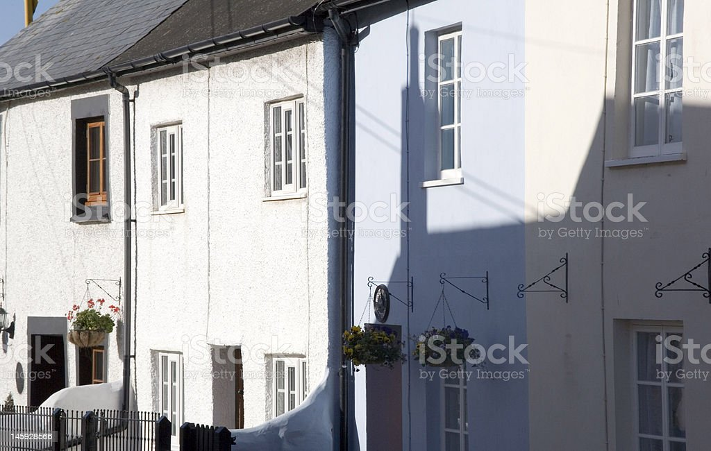 White Cottages Main Street royalty-free stock photo