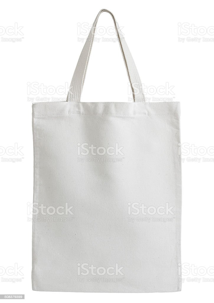 White cotton bag isolated on white stock photo