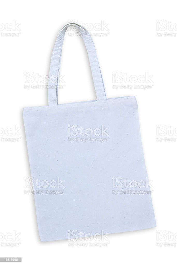 Borsa in cotone bianco isolato con clipping path foto stock royalty-free