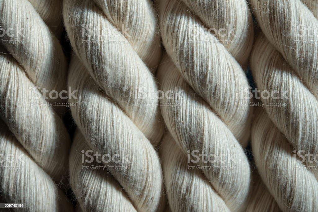 white cotton rope closeup stock photo