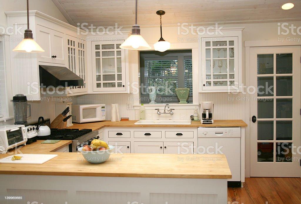 White Country Gourmet Kitchen stock photo