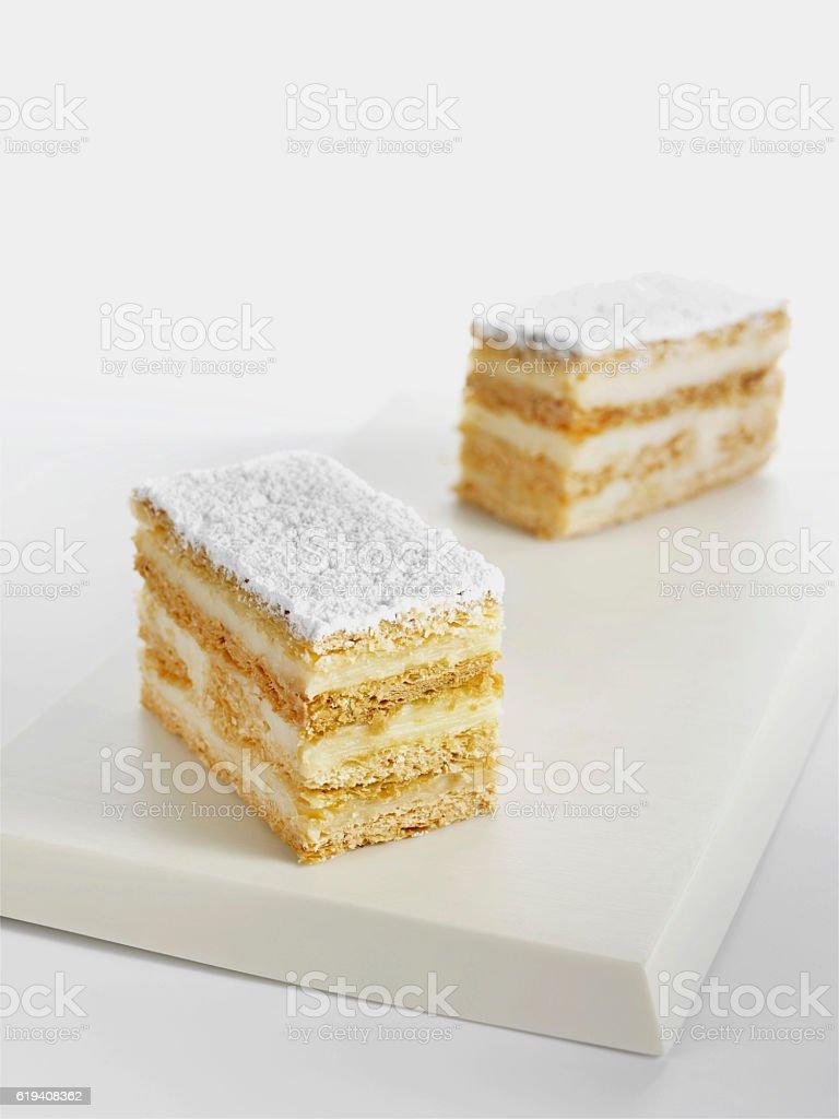 White cripsy cakes stock photo