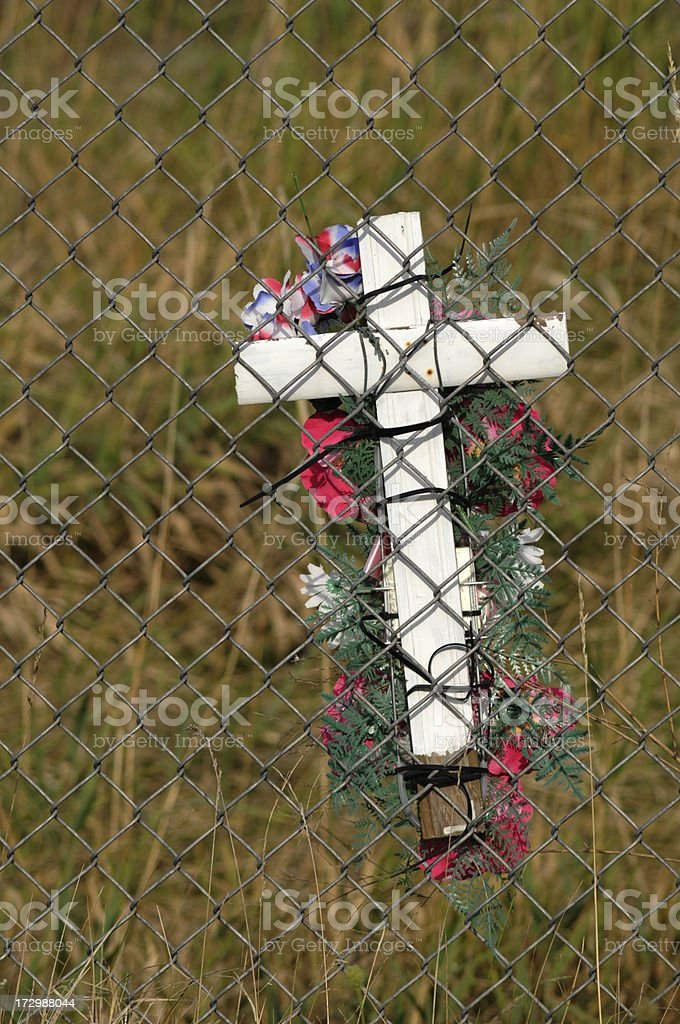 White Cross Death Marker by Highway royalty-free stock photo