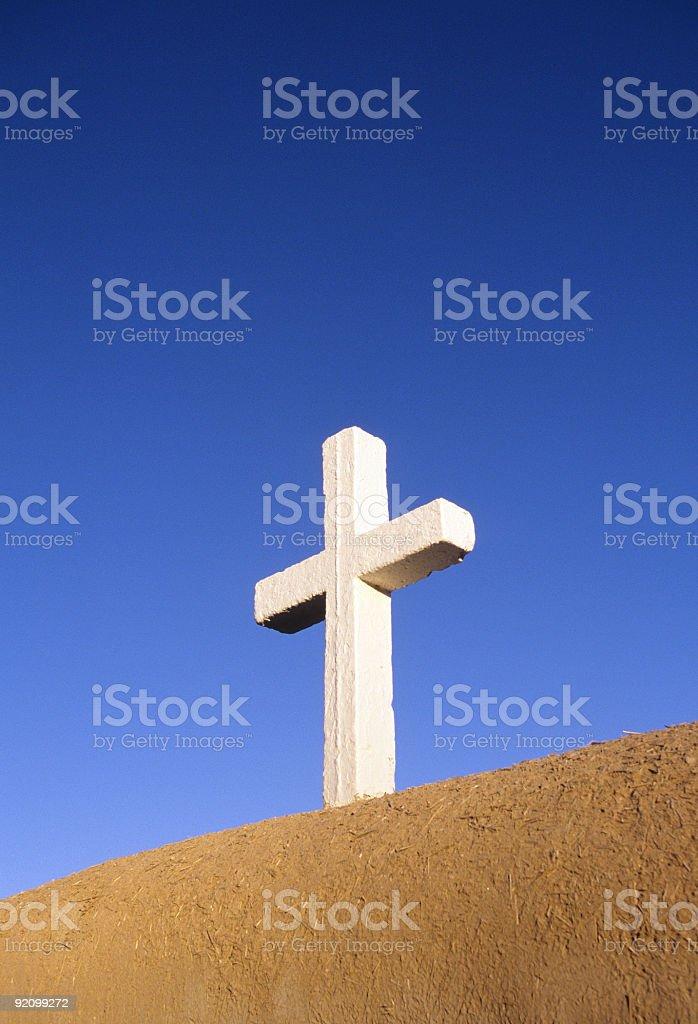 White cross on top of San Francisco de Asis church stock photo