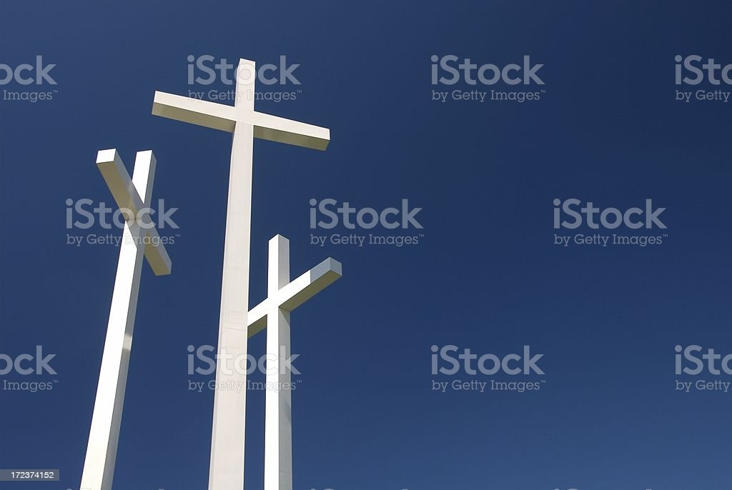 White Crosses Against a Blue Sky royalty-free stock photo