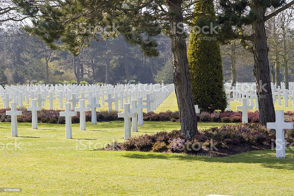 White crosses at Normandy American Cemetery royalty-free stock photo
