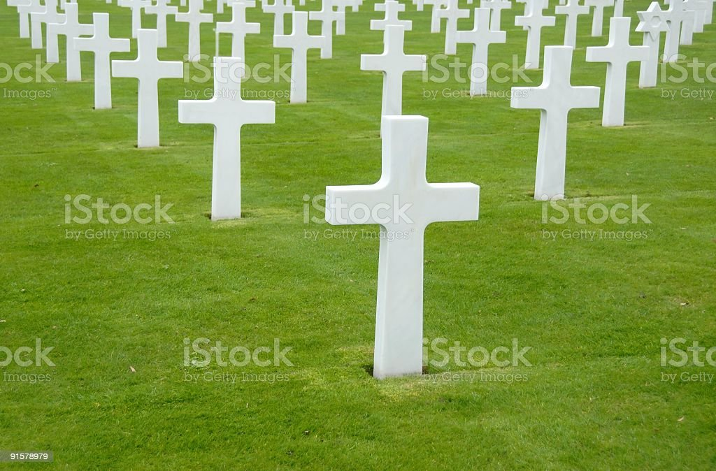 White crosses at World War II cemetery,Colleville-sur Mer,France. stock photo