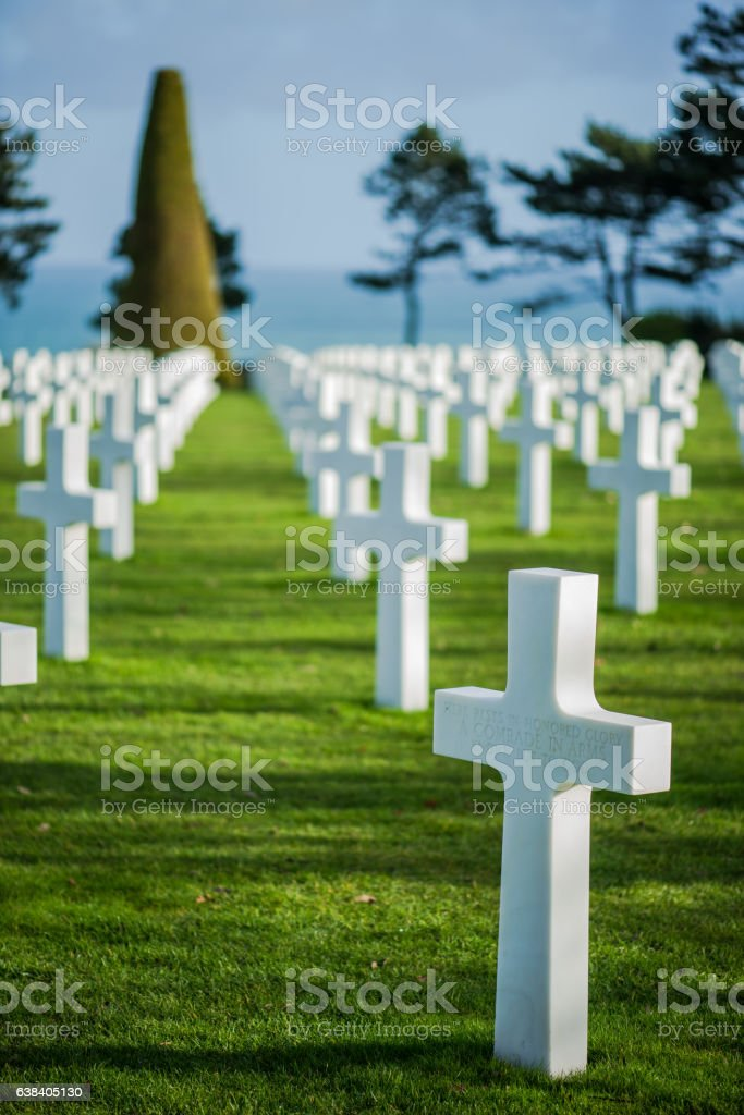 White crosses in American Cemetery, Omaha Beach, Normandy, Franc stock photo