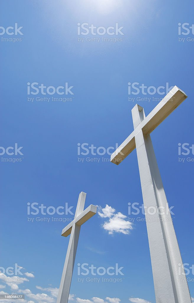 White Crosses Under Blue Sky royalty-free stock photo