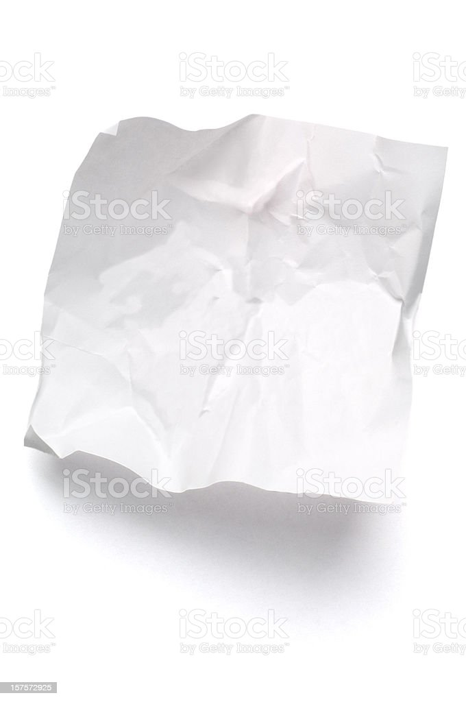 White crumpled note paper isolated stock photo