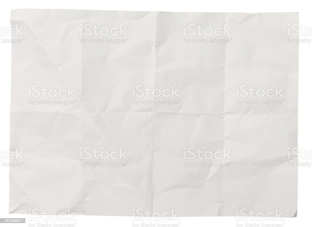 white crumpled paper background texture stock photo