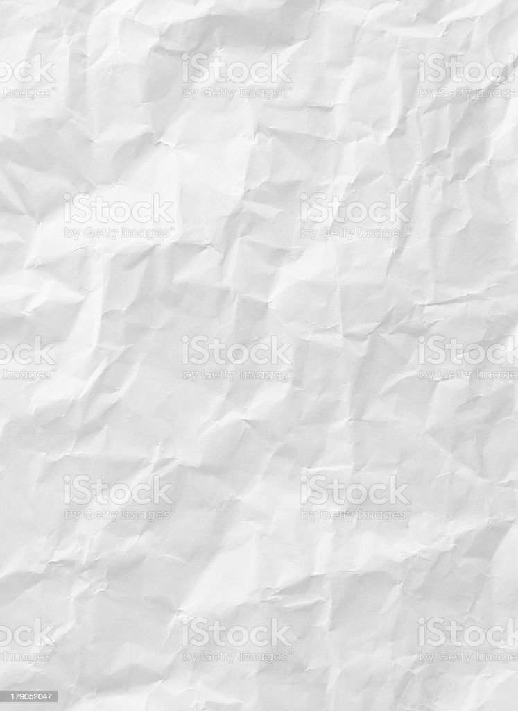 white crumpled paper texture stock photo