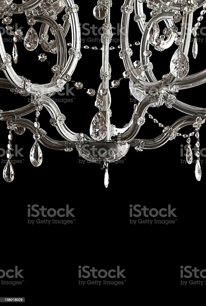 White crystal chandelier - copy space and black background stock photo