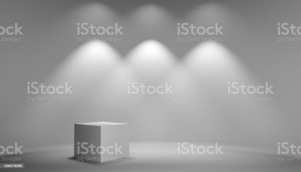 White cube in gray studio stock photo